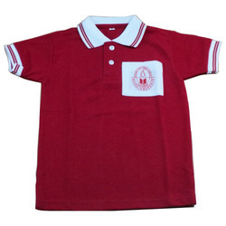 Red And White Cotton School T-Shirts