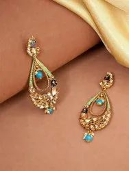 Gold-Toned Stone Studded Peacock Inspired Tear Drop Shaped Drop Earrings