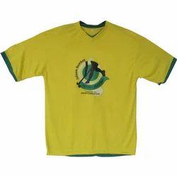 Yellow Cotton V-Neck T-Shirt, Size: XL