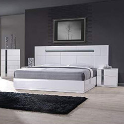 Teak Wood White Wooden Double Bed