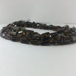 Natural Smoky Quartz Gemstone Faceted Nugget Tumble Beads
