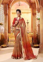 Beige & Orange Cotton Silk Printed Saree
