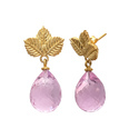 Beautiful Handmade Leaf Drop Gemstone Pink Quartz Fancy Earring Jewellery