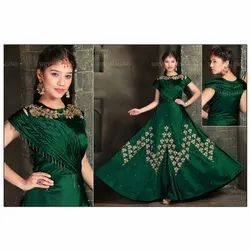 Embroidered Semi Stitch Ladies Party Wear Green Long Gown, Size: S-xxl