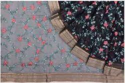 Organza Embroidery Jaal Blue Saree
