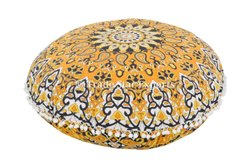 Indian Hippie Cotton Floor Cushion Cover 32 Printed Floor Pillow Cover Mandala Round Pillow Cover