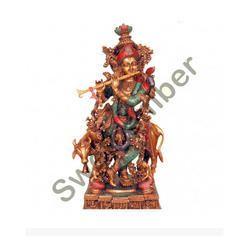 Cow Krishna Brass Statue