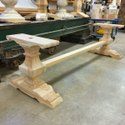 Brown Rectangular Wooden Trestle Base For Home, Size: 150x80x73cm