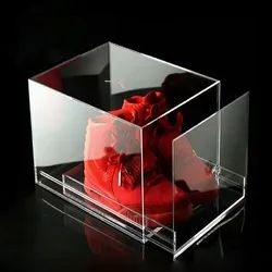 Clear Acrylic Shoe Box Cube With Cover / Lid For Sneaker Display Case
