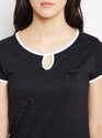 Ladies Cotton Black Round Neck T-Shirt