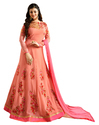 Peach Resham Embroidery, Latest 2018 Party Wear Anarkali Style Salwar Kameez Suits