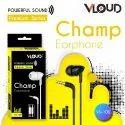 Black Wired Earphone Brand - Vloud, Model Name/number: Vs-100