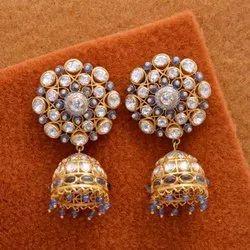 Sapphire Polki Moissanite Silver 925 Gold Earrings