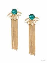 Golden Hanging Stone Brass Earrings