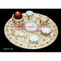 White Makrana Marble Handicraft Table Plate