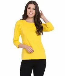 Hapuka Mix Color Solid Cotton Slim Fit Three Fourth Sleeves T-Shirts For Women
