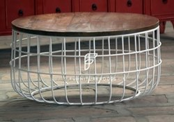 Coffee Shop Furniture - Vintage Industrial Round Coffee Table - Farmhouse Style