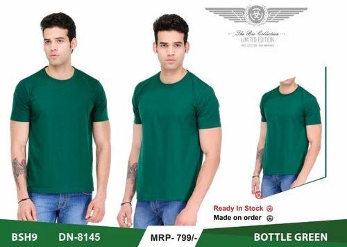 3cf991058 Bottle Green Plain , Printed Mens T-shirt Round Neck, Rs 280 /piece ...
