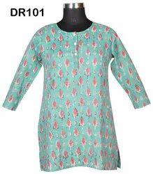 Cotton Hand Block Print Women's Short Top Kurti DR101