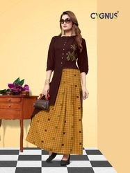 Heavy Rayon Embroidery Kurtis For Ladies