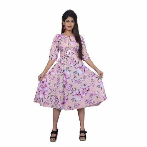 Party Wear Western Wear Floral Printed Frock Dress Size S Xxl