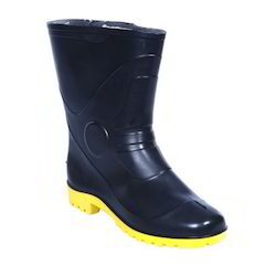 Fortune Winner-10 Gumboot Plain Toe Black-Yellow