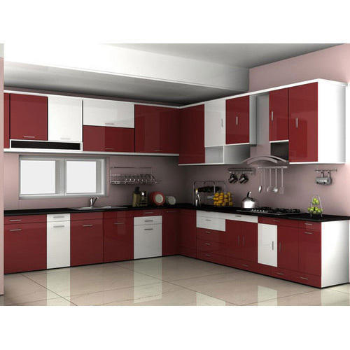 Maroon And White Black Modular Kitchen Rs 900 Square Feet Kiana Constructions Private Limited Id 20136337212