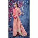 Royal Pink Loan Cotton Designer Long Kurti