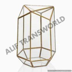 Designer Gold Finish Geometric Terrarium