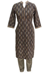 Cotton Brown Colour Jaipuri Buta Kurti with Cotton Stripes Print Straight Pant