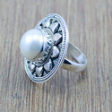 925 Sterling Silver Designer Jewelry Pearl Gemstone Fine Ring Wr-5164