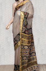 Palette Off-White Maheshwari Saree With Zari Patta