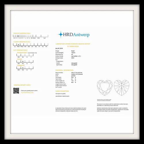 1 02ct Heart Shape Diamond F Vvs1 Stone 1 Hrd Antwerp Certified Hpht Lab Grown À¤¹ À¤° Excellent Corporation Surat Id 21249095797