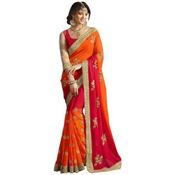 Orange and Red Color Georgette Designer Saree
