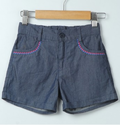 Grey Cotton Embroidered Chambray Shorts