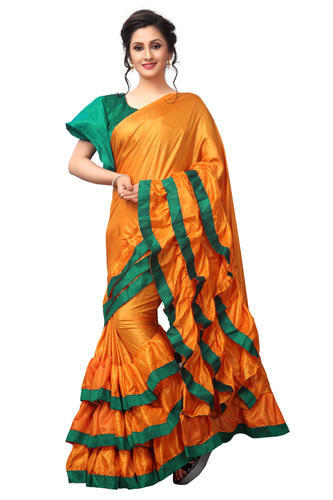 6fcac4d061 Silk Plain Designer Fancy Ruffle Saree, Rs 999 /piece, Linaro ...