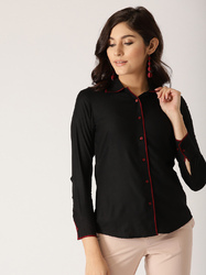 Female Regular Sleeves Black Solid Shirt