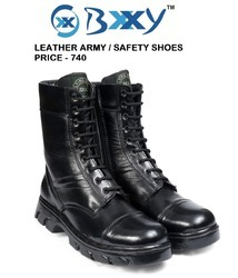 BXXY Mens High Ankle Leather Army Desert Look Boots