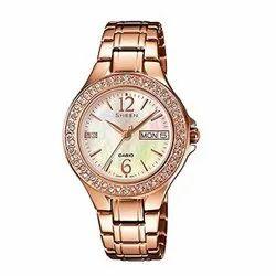 Women Round Casio-SX099 Wrist Watch