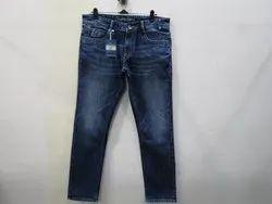 Mens Dark Blue Slim Fit Stretch Jeans(PW-016)