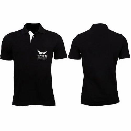 61eb1529929 Mens Cotton Black Collar T Shirt