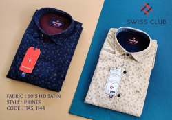 Cotton Swiss Club Men's Casual HD Satin Printed Shirt