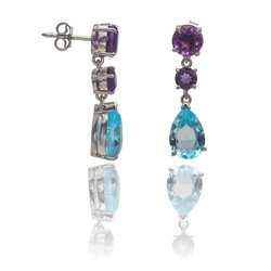 Blue Topaz and Amethyst Cut Stone Dangle Silver Earrings