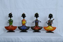 Multicolor Iron Rajasthani Metal Lady Musician Colorful Set of 3 For Gift, For Decoration, Dust With Dry Cloth