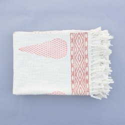 White Block Print Cotton Throws