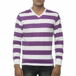 Mens Strips Full Half Sleeve T Shirt