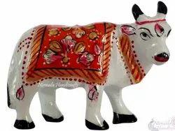 Metal Meenakari Cow Statue Enamel Work Figurine