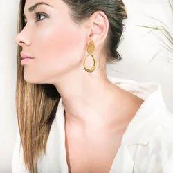 Gold Plated Tear Drop Stud Design Women Handmade Earrings