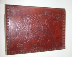 Elephant  Design Embossed Leather Journal