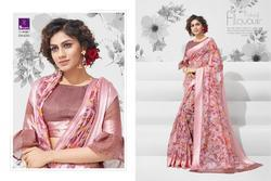 Shangrila Kanchana Cotton Vol-10 Series 4291-4302 Stylish Party Wear Linen Cotton Saree